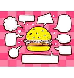 Big burger with speech comics bubbles on vector
