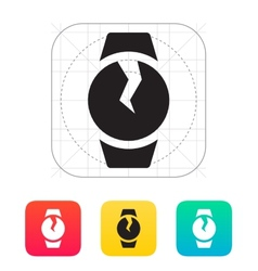 Broken round smart watch icon vector