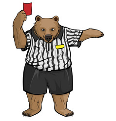 Brown russian bear soccer football referee shows vector