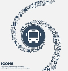 Bus icon sign in the center Around the many vector
