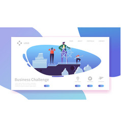 Business challenge landing page characters on ship vector