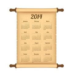 Calendar 2014 on parchment roll vector image
