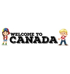 Canadian boy and girl greeting vector image