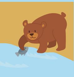 cartoon bear character teddy pose vector image