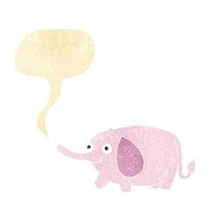 Cartoon funny little elephant with speech bubble vector
