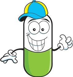 Cartoon pill capsule giving thumbs up vector image