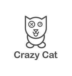 Cat logo line simple minimalist vector