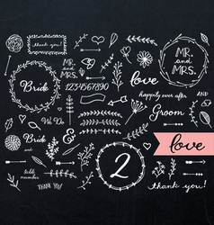 Chalkboard Wedding Doodles vector image