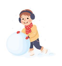 Cheerful boy wearing warm scarf and earmuffs vector