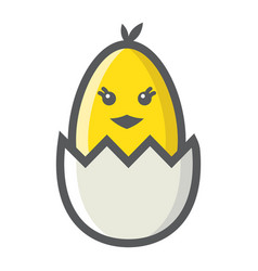 chick hatched from an egg filled outline icon vector image