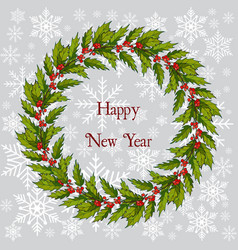 christmas and new year holly tree wreath vector image