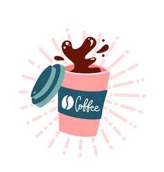 coffee to go cup splashing coffee in paper cup vector image