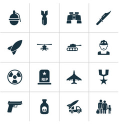 Combat icons set collection of weapons fugitive vector