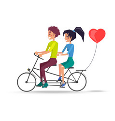 Couple in love riding on two-seat bicycle vector