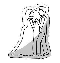Couple wedding holding hands romantic outline vector