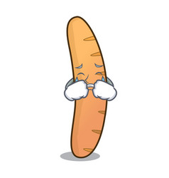 Crying baguette mascot cartoon style vector