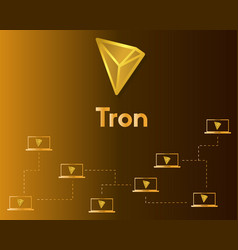 Cryptocurrency tron blockchain networking vector