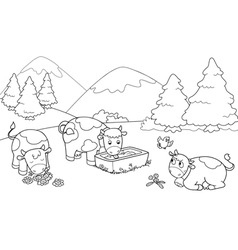 Cute cows at the mountains vector image