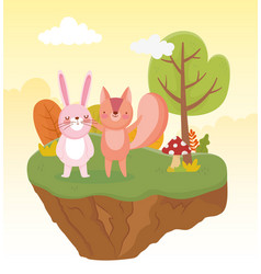 cute rabbit and squirrel tree foliage nature vector image