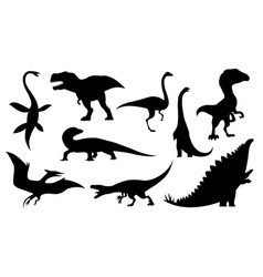 Dinosaur silhouettes set dino monsters icons vector