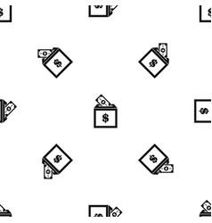 donation box pattern seamless black vector image