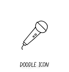 Doodle microphone icon Speaker pictogram vector image