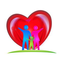 family people and loving heart logo vector image