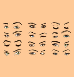 Female eyes open closed and crying colored women vector