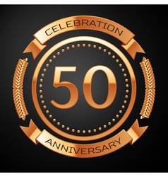 Fifty years anniversary celebration with golden vector