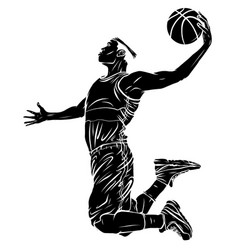 flat design basketball player dunk vector image