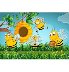 Four bees flying around the beehive vector image
