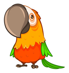 funny fat orange parrot with a large beak vector image