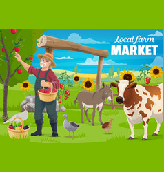 Gardening and farming farmer and farm animals vector