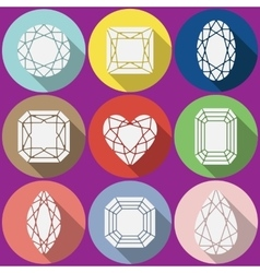 Gems icons set vector