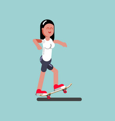 Girl skater doing manual vector