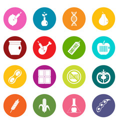 gmo icons many colors set vector image