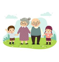 grandparents and grandchildren standing vector image