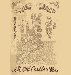 Graphic with old castle on textured background vector
