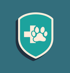 Green animal health insurance icon isolated on vector