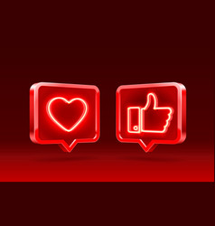 Hand and heart like neon icon sign follower 3d vector