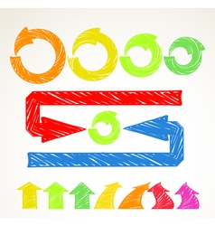 Hand-drawn different arrows collection vector image