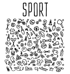Hand drawn Sport and fitness elements seamless vector image