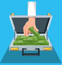 hand with portfolio and bills dollars vector image