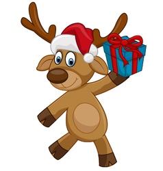 Happy cartoon deer holding present vector