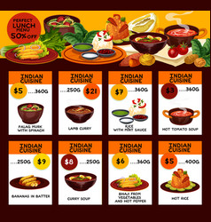 Indian cuisine dishes lunch menu vector