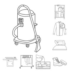 isolated object of laundry and clean symbol set vector image