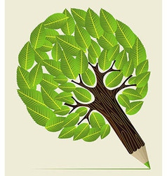 Leaves concept pencil tree vector image