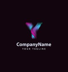 letter y modern wave line logo design template vector image