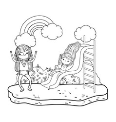 little girls in slide playing in the park vector image