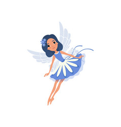 Little pixie in blue fancy dress cartoon fairy vector
